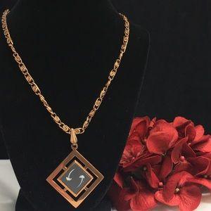 Vintage Jewelry - Vintage Copper Etched Damascene Necklace